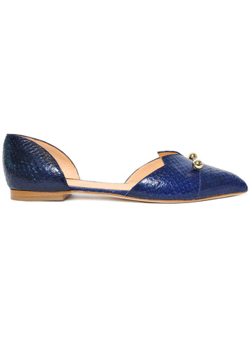 Blue coloured sustainable LOULOU Loafer with golden piercings by ALINASCHUERFELD