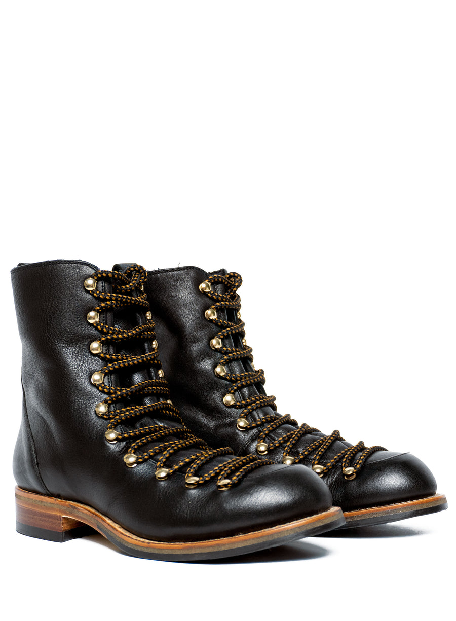 Goodyear welted, black green coloured, sustainable boot by ALINASCHUERFELD