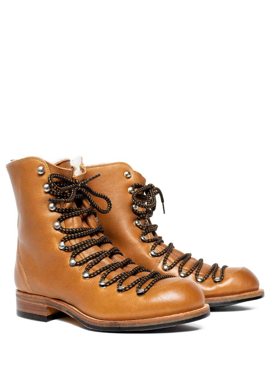 Goodyear welted, brown coloured, sustainable boot by ALINASCHUERFELD