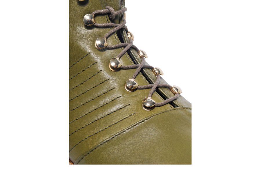 Goodyear welted, olive green coloured, sustainable ankle boot by ALINASCHUERFELD