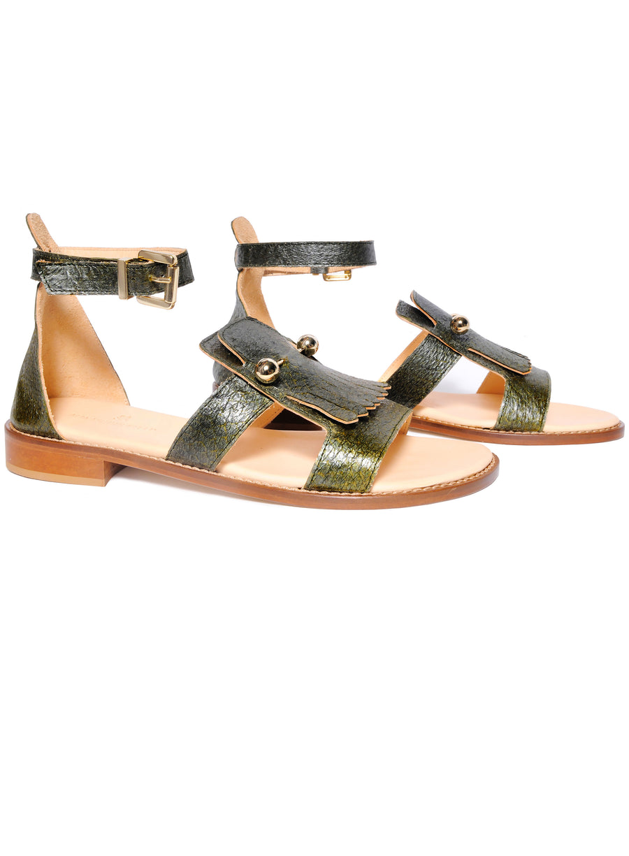 Olive green coloured, sustainable sandal with golden piercings by ALINASCHUERFELD