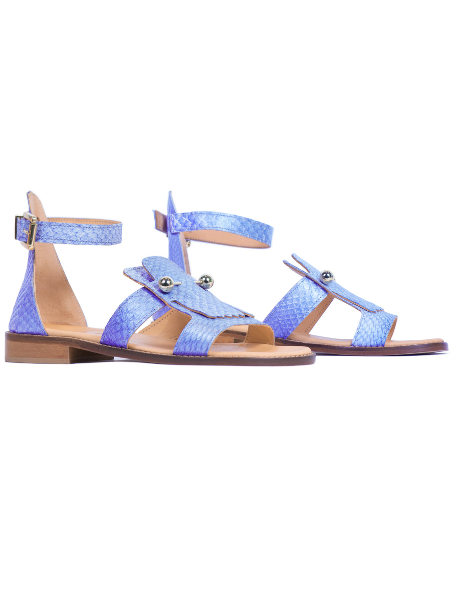 Violet Metallic coloured, sustainable sandal with golden piercings by ALINASCHUERFELD
