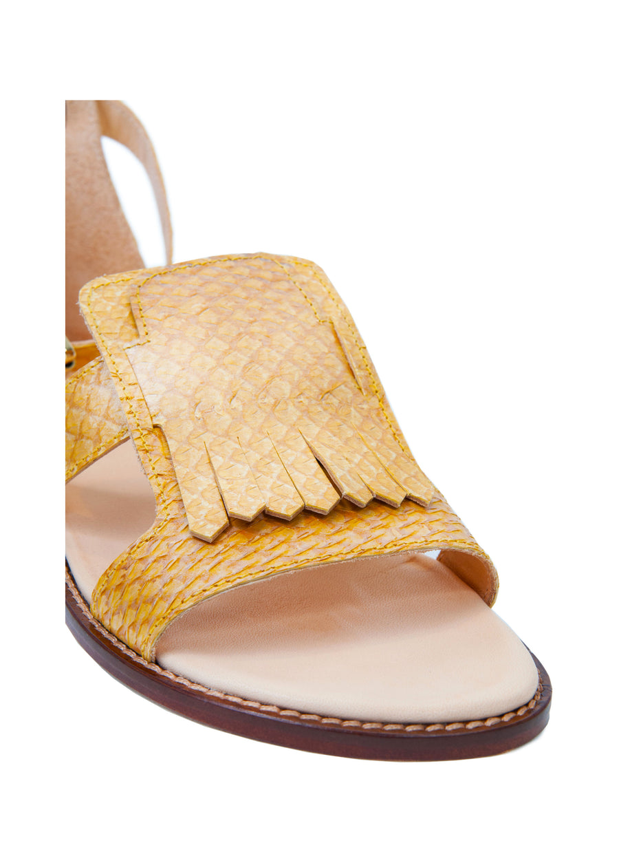 Yellow Metallic coloured, sustainable  sandal by ALINASCHUERFELD