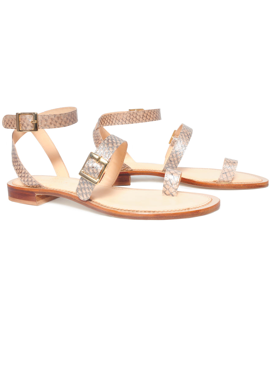 Nude Metallic coloured, sustainable sandal with golden buckles by ALINASCHUERFELD