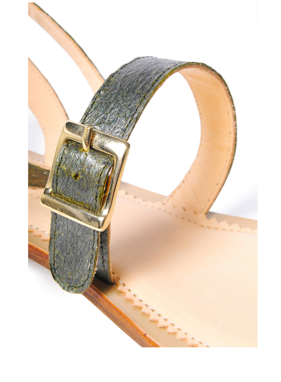 Olive green Metallic coloured, sustainable sandal with golden buckles by ALINASCHUERFELD