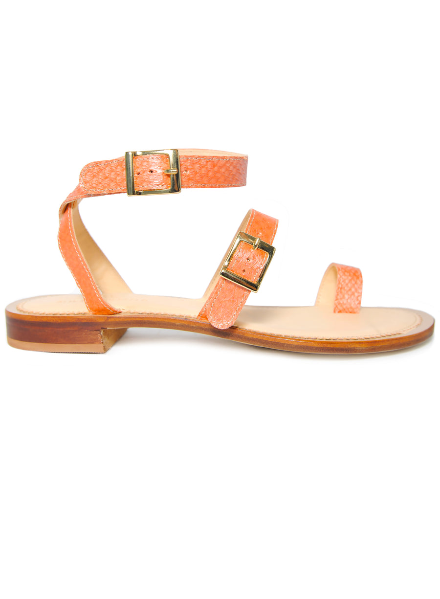 Orange Metallic coloured, sustainable sandal with golden buckles by ALINASCHUERFELD