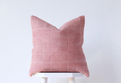 QUILTED GRID Cushion Cover - ROSE QUARTZ