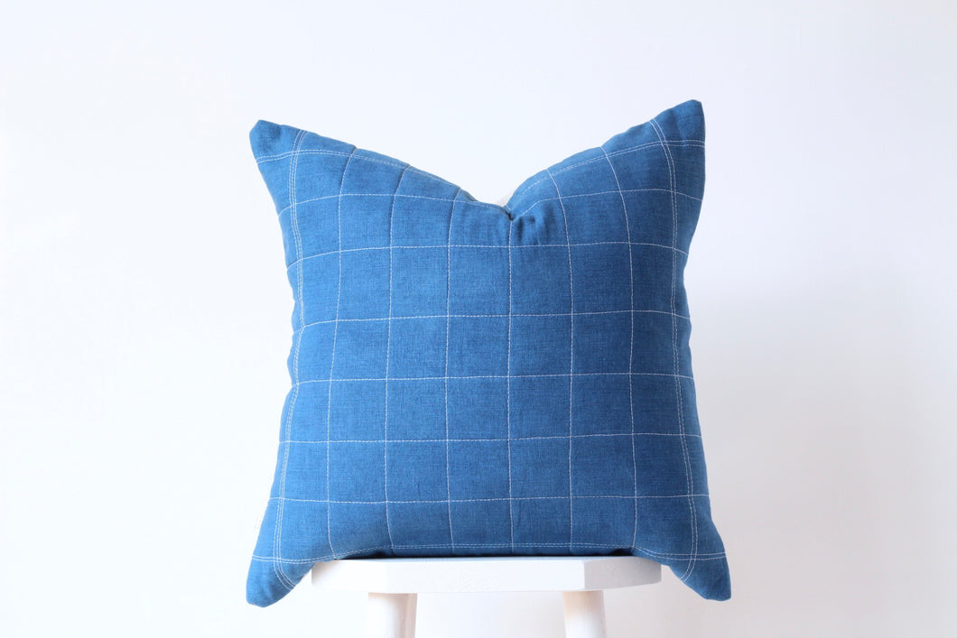 QUILTED GRID Cushion Cover - INDIGO