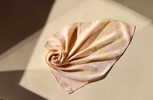 Small botanically dyed silk scarf