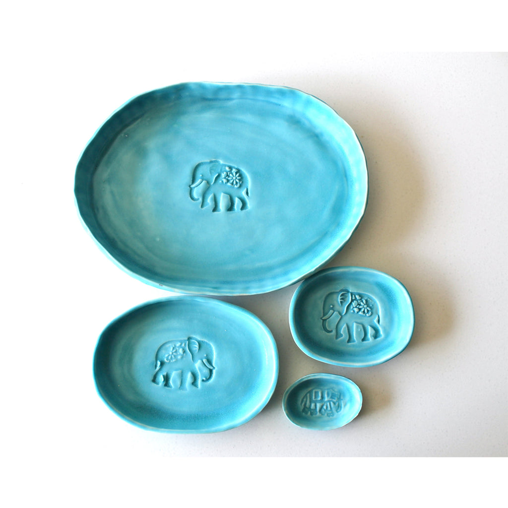 Organic Turquoise Serving Dish Set