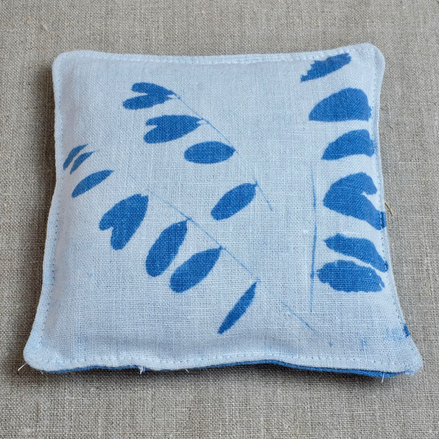 Blue Lavender Pouch with locust tree leaf