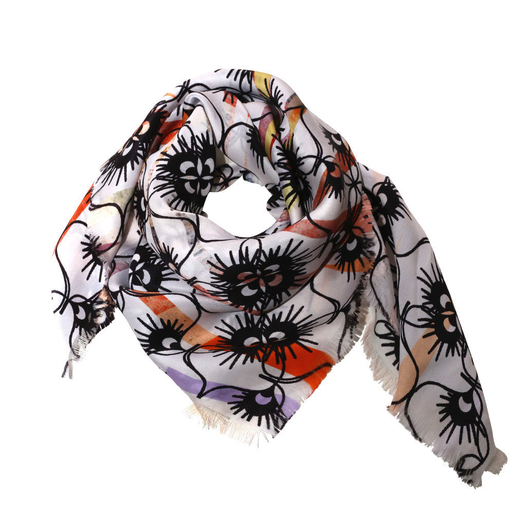 Dried Florar Silk Scarf