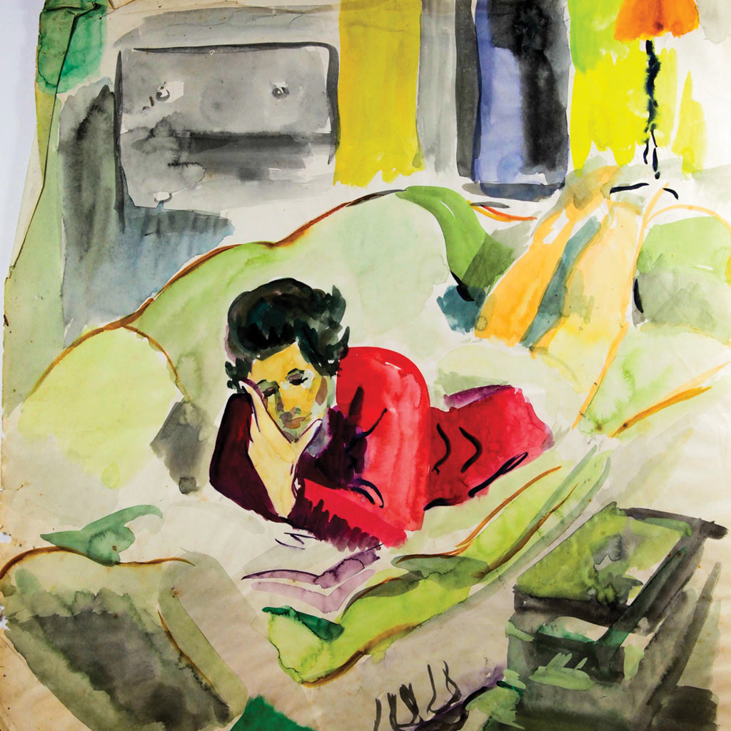 Ginette Bernas Wales: Woman Reading on Couch