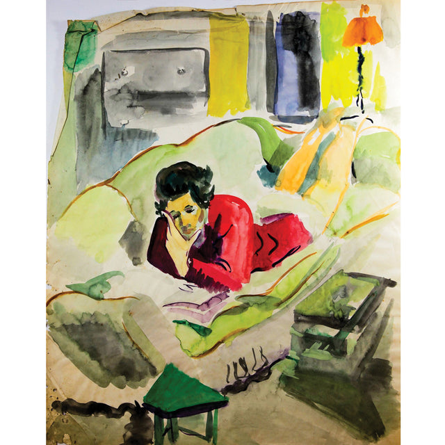 Woman Reading on Couch Print by Ginette Bernas Wales