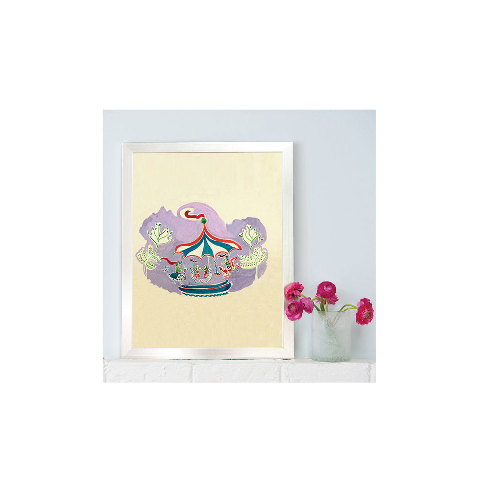 Watercolor Carousel Print by Ginette Bernas Wales