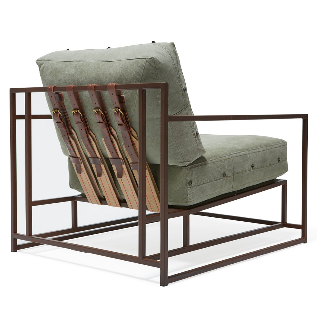 Olive Green Canvas Armchair by Stephen Kenn