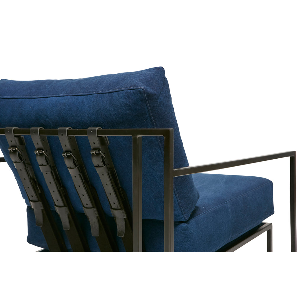 Vintage Indigo Canvas Armchair