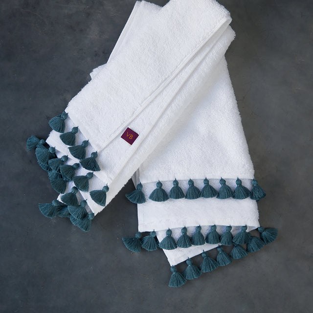 White & Blue-Grey Towels