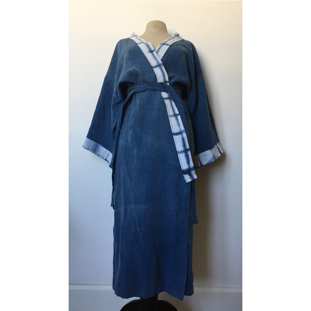 vintage cotton-linen fabric bathrobe is designed by Meilin Bristiel,
