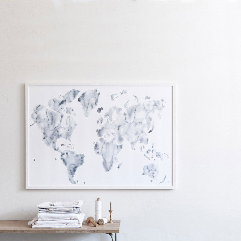 Blue World Watercolor Print by Silke Bonde