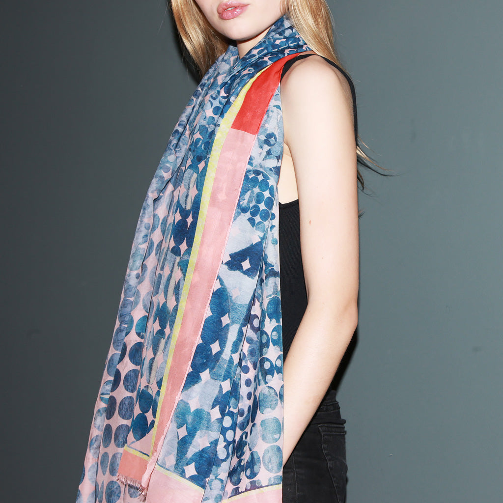 Blue and Orange Patterned Scarf
