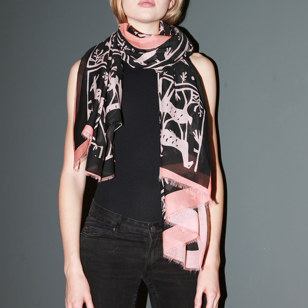 Black and Pink Patterned Silk Scarf