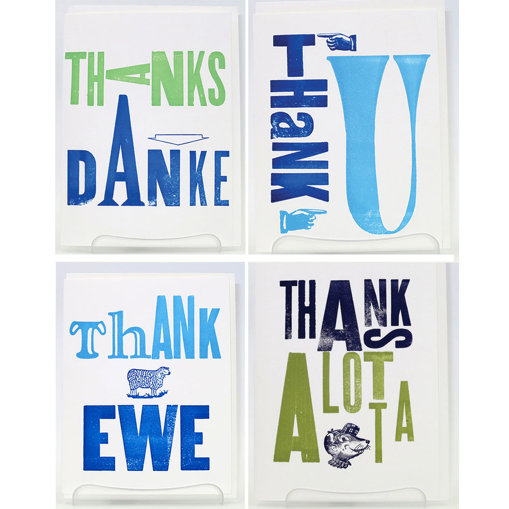 Blue Green Thank You Cards
