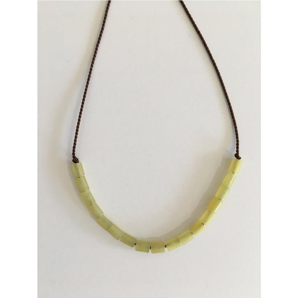 Lime jade necklace by Cecilia Szivos
