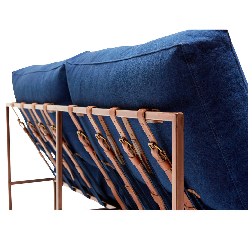 Vintage Indigo Canvas Loveseat