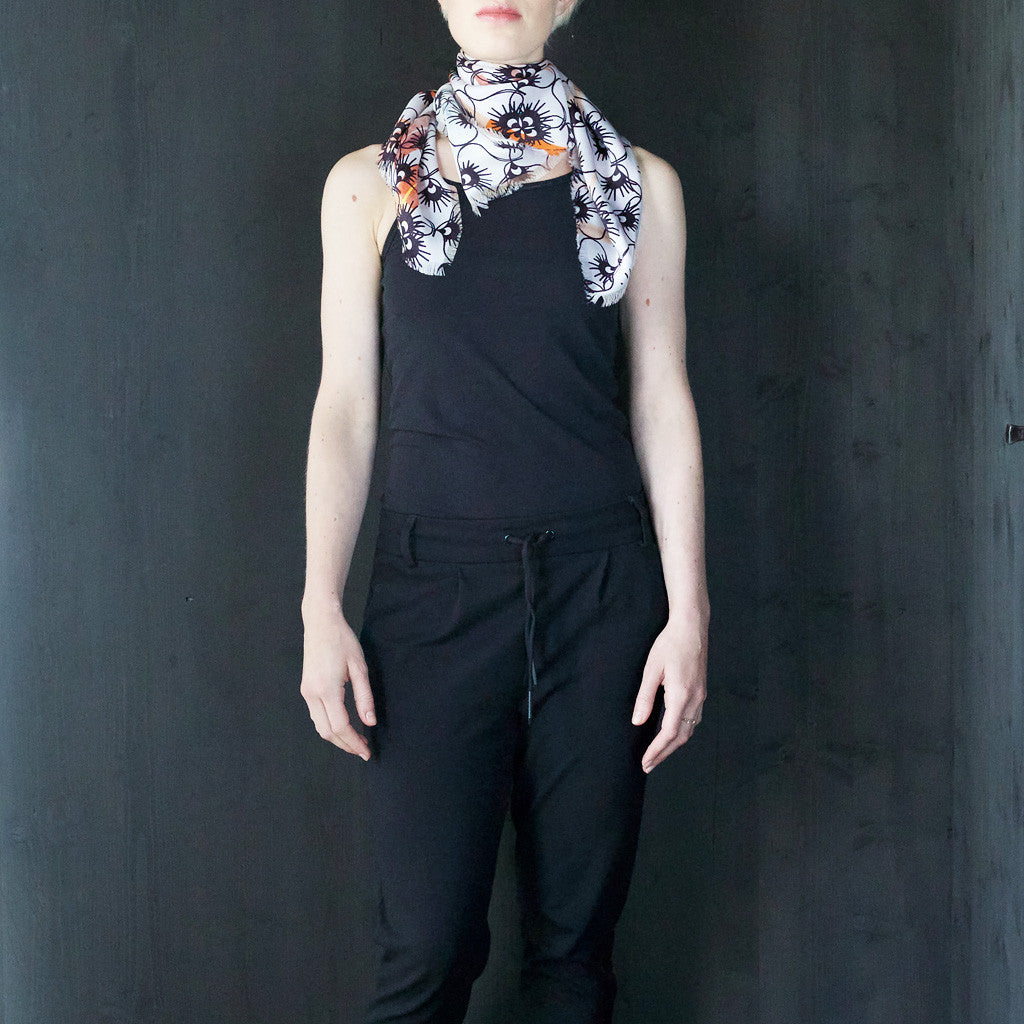 Black-and-White Silk Square Scarf