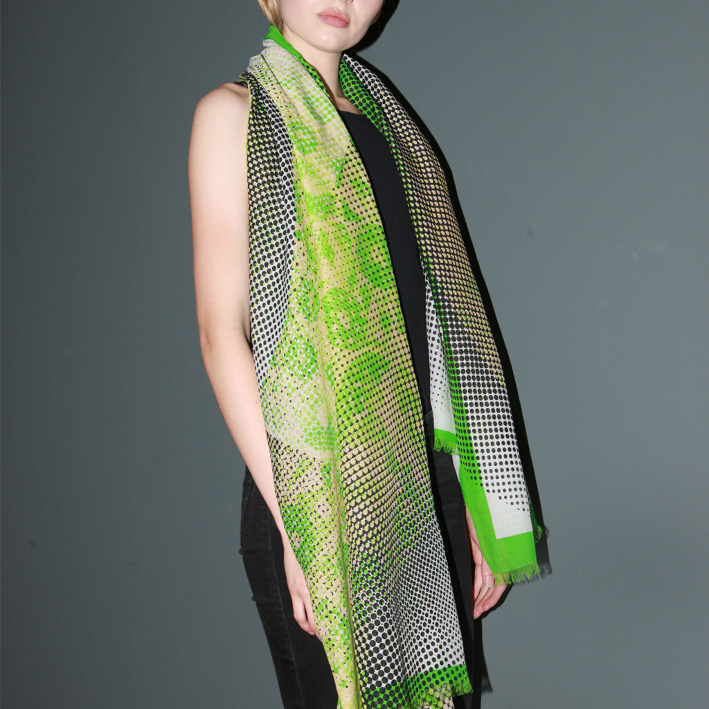 Organic Shapes III Vibrant Green Scarf