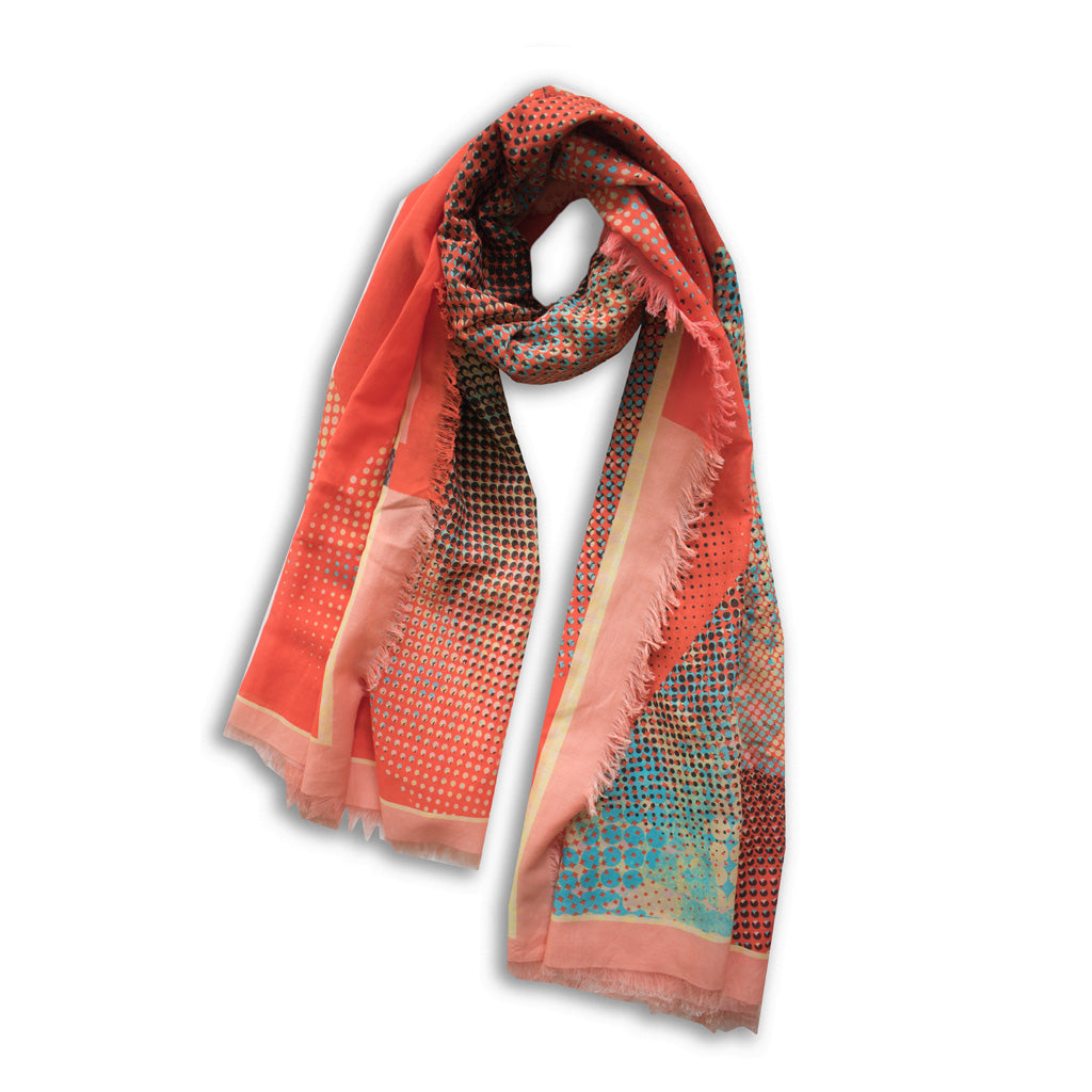 Organic Shapes I Vibrant Red Scarf