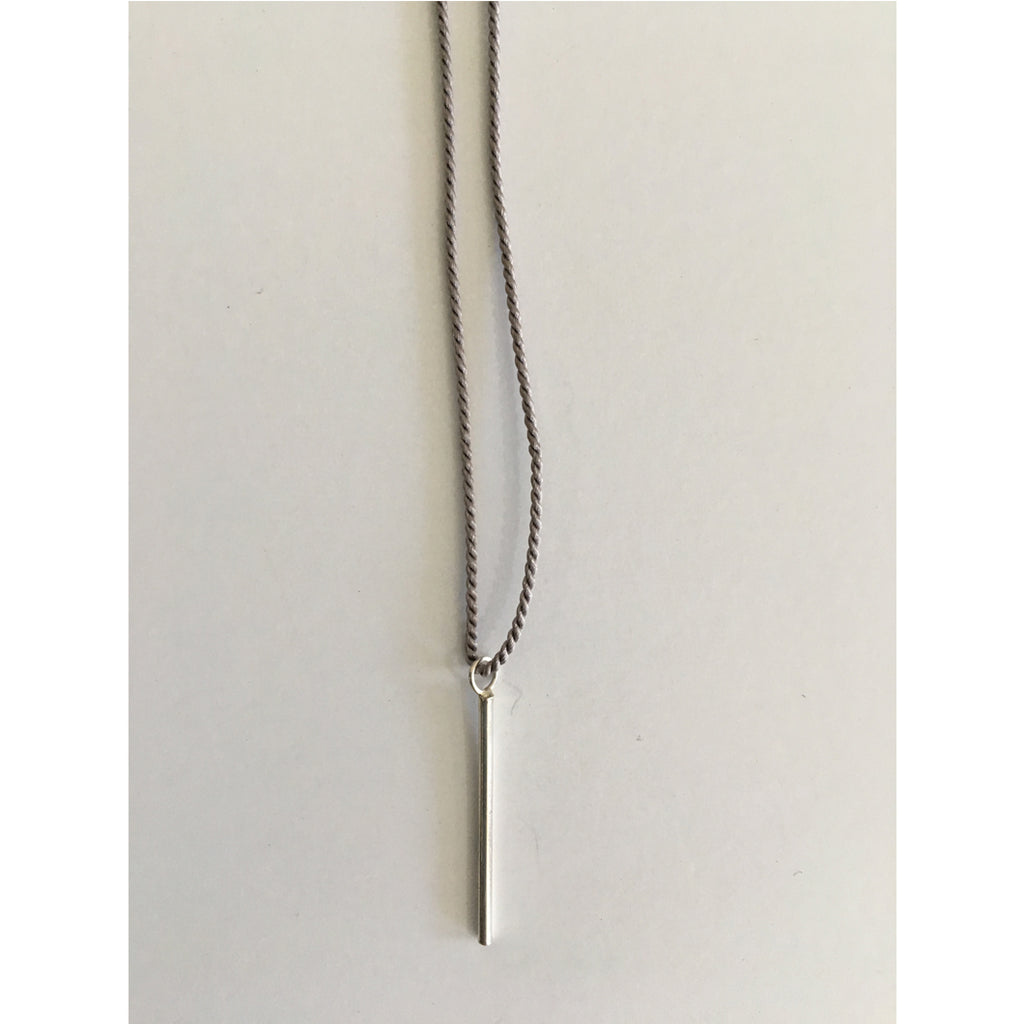 minimalist stick neacklace silver by cecilia Szivos