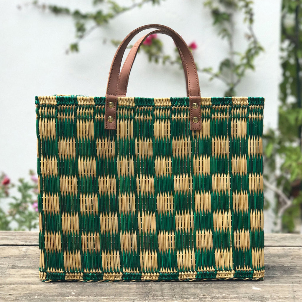 Green Natural Basket Bag