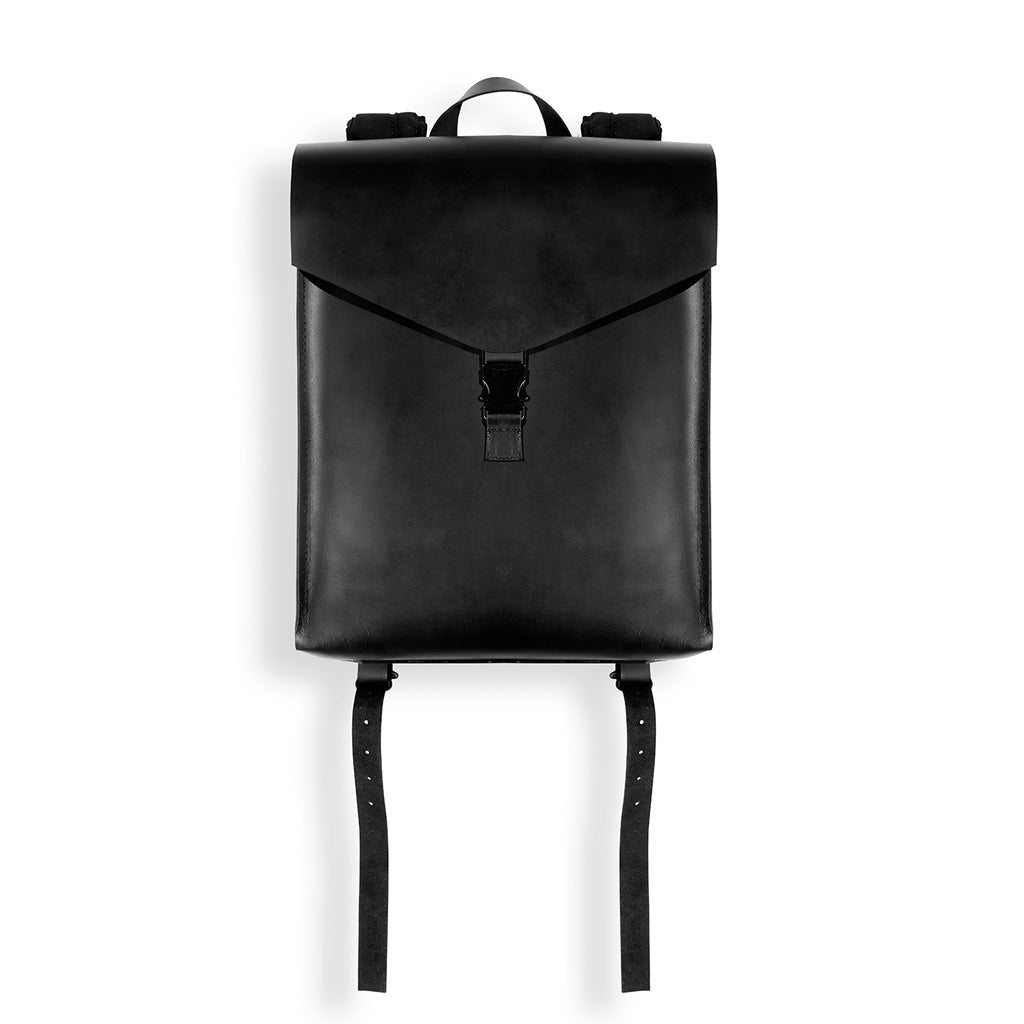 Minimal Black Leather Backpack