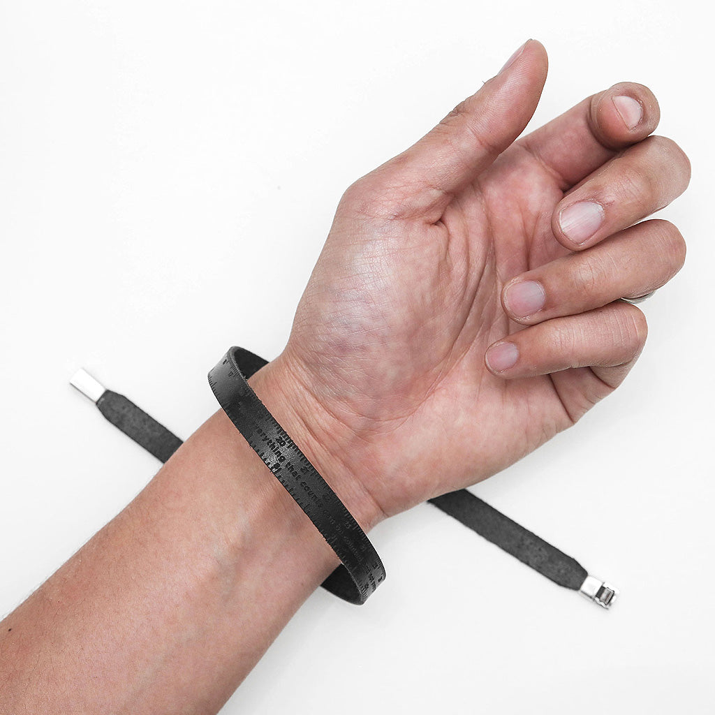 Black Leather Ruler Bracelet by The Goods