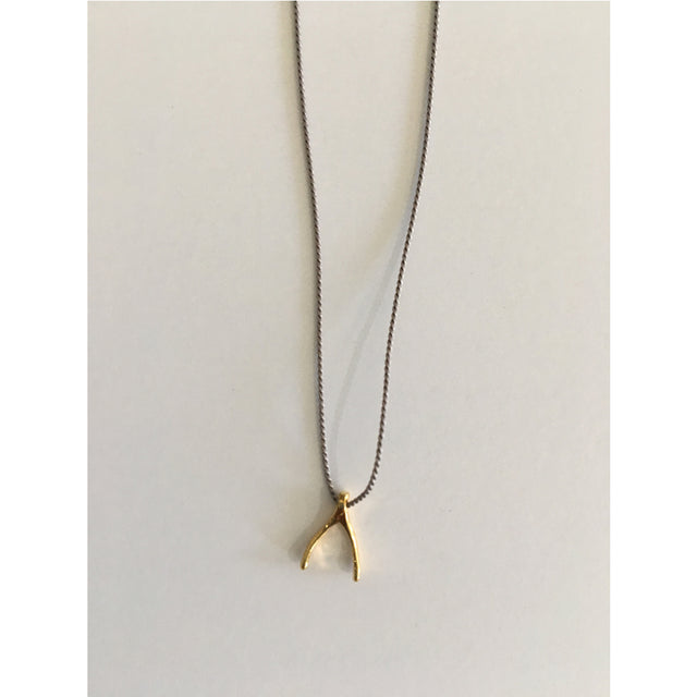 Wish Bone Necklace Gold by Cecilia Szivos