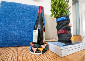Black + Neon Mlima Wine Bottle Coaster