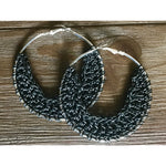 Crocheted Leather Earrings- Gunmetal