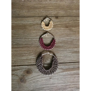 Crocheted Leather Hoop Earrings - Pink