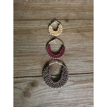 Load image into Gallery viewer, Crocheted Leather Hoop Earrings - Ivory