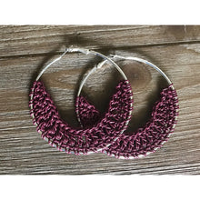 Load image into Gallery viewer, Crocheted Leather Earrings- Cranberry