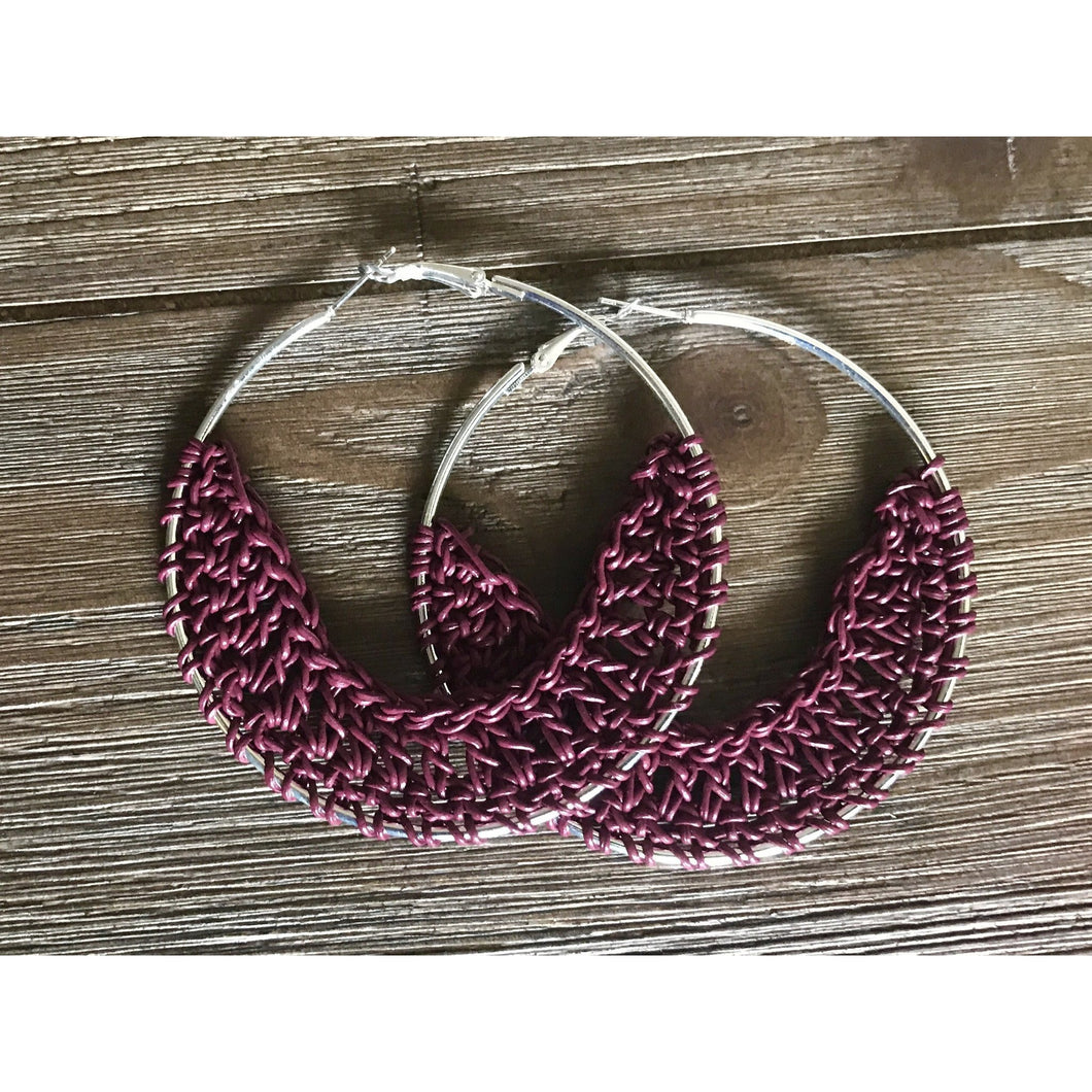 Crocheted Leather Earrings- Cranberry