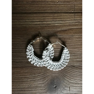 Crocheted Leather Hoop Earrings - White