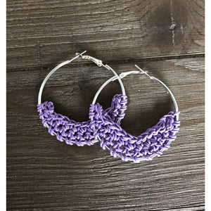 Crocheted Leather Earrings- Lavender