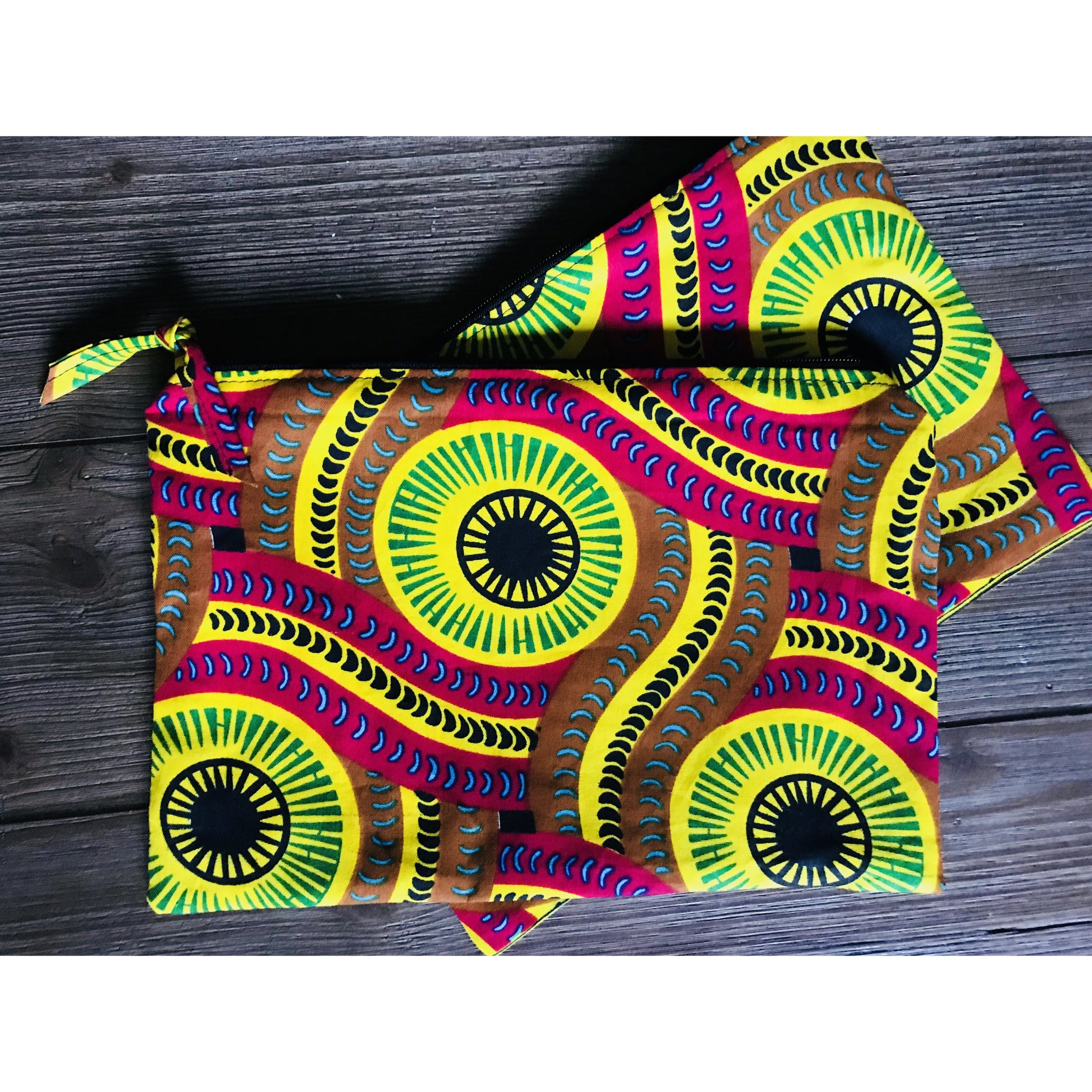 Ankara Print  Zippered Cosmetic Bag- Tracks
