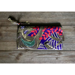 Ankara Print  Zippered Cosmetic Bag- Fauna