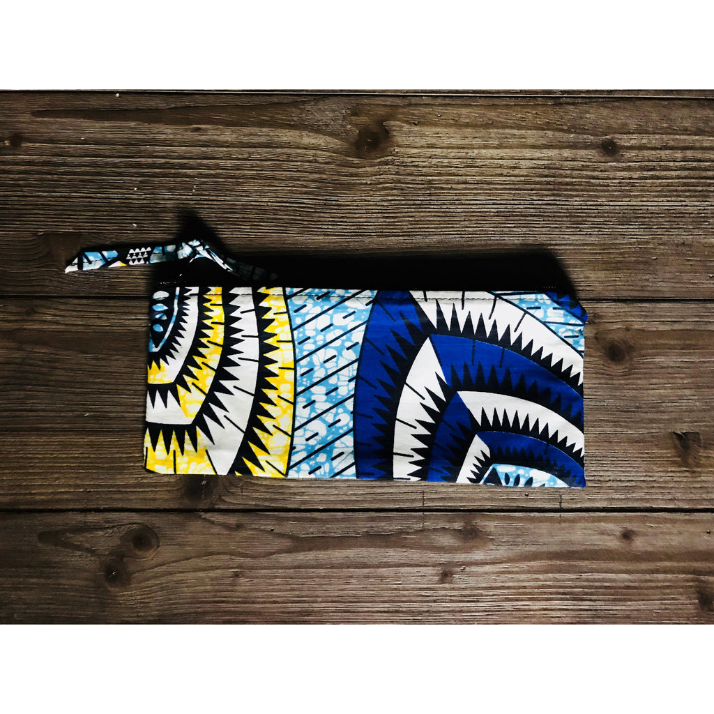 Ankara Print  Zippered Cosmetic Bag- Ngao Blue