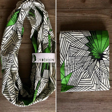 Load image into Gallery viewer, Ankara Print Infinity Scarf-Nyota (Green)- Unisex Gifts
