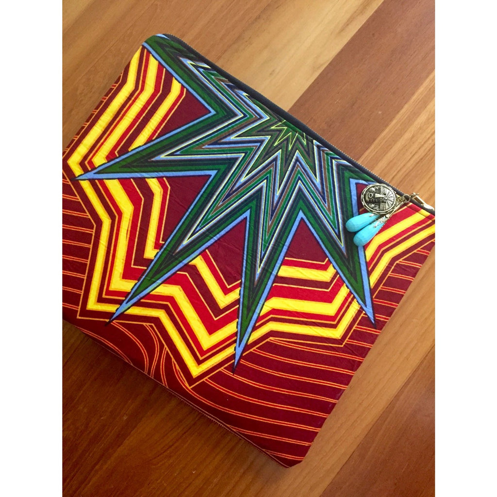 "Ankara Print Fabric Laptop Sleeve for 12"" MacBook Air- Star"